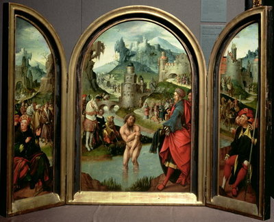 Triptych of the Cleansing of Naaman: the centre panel depicts Naaman, commander of the Syrian army, washing in the River Jordan to cure his leprosy at the command of the prophet Elisha, who in the background refuses gifts offered to him, 1520 (panel) (see also 70712) Wall Art & Canvas Prints by Cornelis Engelbrechtsen