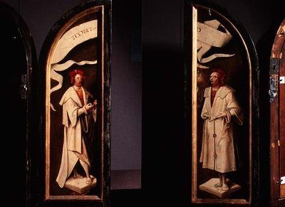 The Cleansing of Naaman Triptych: side panels depicting the martyrs Cosmas and Damian, protectors against sickness, 1520 (panel) Wall Art & Canvas Prints by Cornelis Engelbrechtsen
