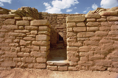 Remains of Pueblo Indian dwellings, built 11th-14th century (photo) Fine Art Print by .