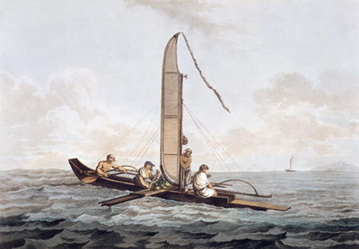 A Sailing Canoe of Otaheite, from 'Views in the South Seas', pub. 1792 (etching) Wall Art & Canvas Prints by John Webber