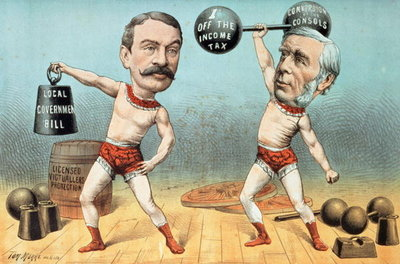 Goschen and Ritchie, the Champion Weight Lifters, Now Appearing with Terrific Success at the Westminster Beer Garden, from 'St. Stephen's Review Presentation Cartoon', 14 April 1888 Fine Art Print by Tom Merry