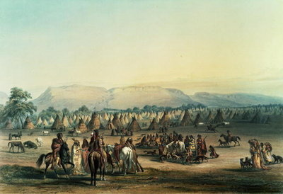 Camp of Piekann Indians Fine Art Print by George Catlin