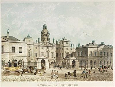 A view of the Horse Guards from Whitehall engraved by J.C Sadler (coloured engraving) Fine Art Print by Thomas Hosmer Shepherd