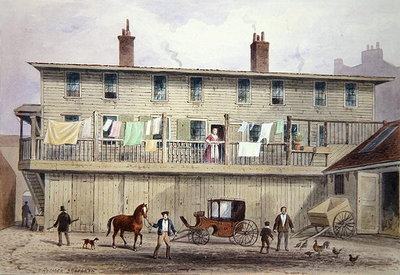 The Old Vine Inn, Aldersgate Street, 1855 (w/c on paper) Wall Art & Canvas Prints by Thomas Hosmer Shepherd