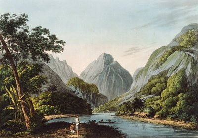 A View in Oheitepha Bay on the Island of Otaheite, from 'Captain Cook's Last Voyage', 1809 (coloured engraving) Wall Art & Canvas Prints by John Webber