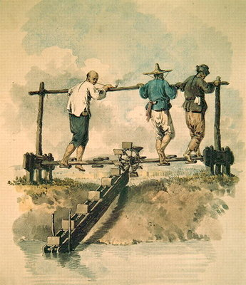 Watering the rice field with a chain pump (w/c on paper) Wall Art & Canvas Prints by English School