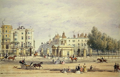 Grosvenor Gate and the New Lodge, 1851 Fine Art Print by Thomas Hosmer Shepherd