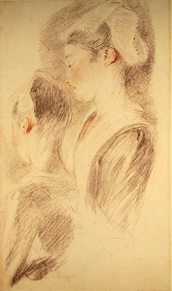 Two studies of a woman, three-quarters from rear, one in profile Fine Art Print by Jean Antoine Watteau