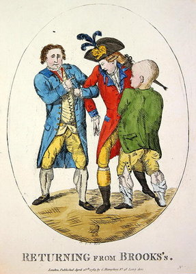 Returning from Brooks's, 1784 (colour etching) Postcards, Greetings Cards, Art Prints, Canvas, Framed Pictures, T-shirts & Wall Art by James Gillray