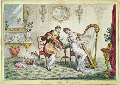 Harmony before Matrimony, 1805 (colour engraving) Fine Art Print by James Gillray