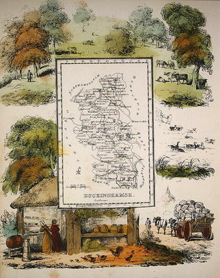 Map of Buckinghamshire Fine Art Print by English School