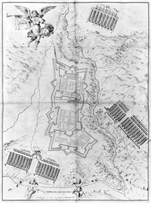 Plan and map of the town and citadel of Mont-Louis (pencil on paper) (b/w photo) Wall Art & Canvas Prints by French School