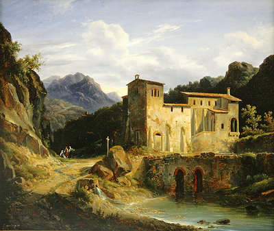View of a Monastery, 1827 (oil on canvas) Wall Art & Canvas Prints by Louis Montvignier