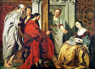 Christ at the House of Martha and Mary of Bethany Fine Art Print by Jacob Jordaens