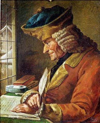 Voltaire (1694-1778) in his Study (oil on canvas) Wall Art & Canvas Prints by French School
