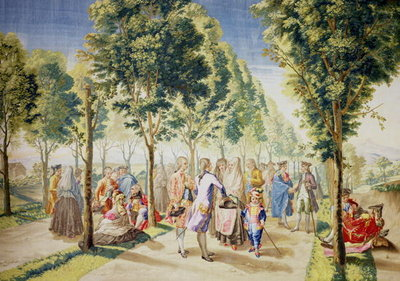 El Paseo de las Delicias, Madrid (tapestry) (see also 488630) Wall Art & Canvas Prints by Ramon Bayeu y Subias