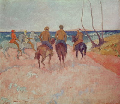 Horseman on the Beach (Hiva Hoa) 1902 (oil on canvas) Wall Art & Canvas Prints by Paul Gauguin