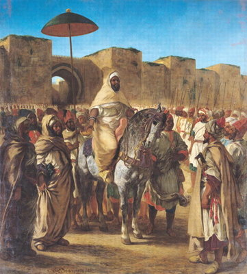 Muley Abd-ar-Rhaman (1789-1859), The Sultan of Morocco, leaving his Palace of Meknes with his entourage, March 1832, 1845 (oil on canvas) Fine Art Print by Ferdinand Victor Eugene Delacroix