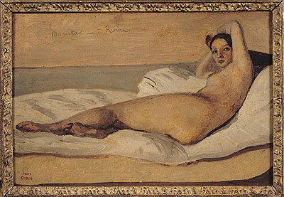 The Roman Odalisque (Marietta) 1843 (oil & pencil on paper) Wall Art & Canvas Prints by Jean Baptiste Camille Corot