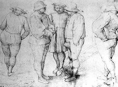 Peasants in Conversation (pen & ink on paper) Postcards, Greetings Cards, Art Prints, Canvas, Framed Pictures & Wall Art by Pieter the Elder Bruegel