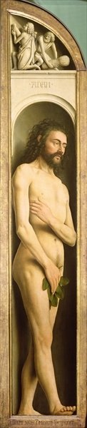 Adam, from the left wing of the Ghent Altarpiece, 1432 Fine Art Print by Hubert Eyck