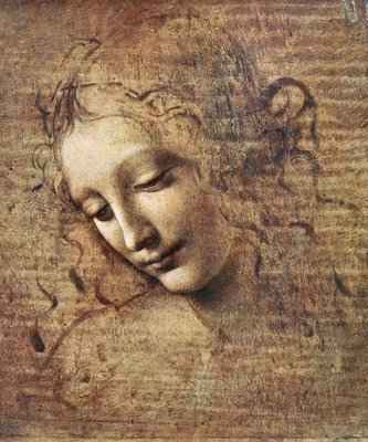 Head of a Young Woman with Tousled Hair or, Leda (gouache on wood) Wall Art & Canvas Prints by Leonardo da Vinci