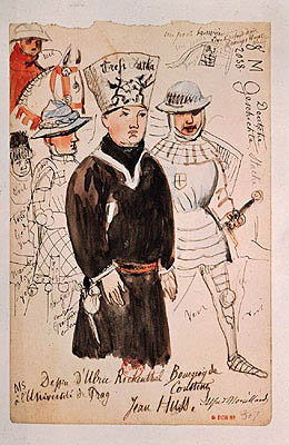John Huss (c.1369-1415) with two soldiers on the way to his execution, 6 July 1415, after a drawing by Ulrich Reichenthal (15th century) 1861-68 (pen, ink & w/c on paper) Fine Art Print by Alfred Mouillard