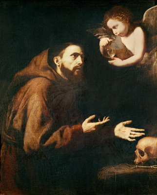 Vision of St. Francis of Assisi (oil on canvas) Wall Art & Canvas Prints by Jusepe de Ribera