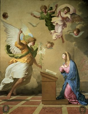 The Annunciation, before 1652 Poster Art Print by Eustache Le Sueur