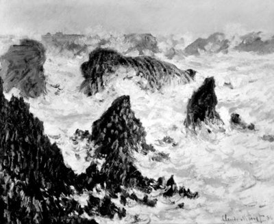 The Rocks of Belle-Ile, 1886 (oil on canvas) (b/w photo) Wall Art & Canvas Prints by Claude Monet