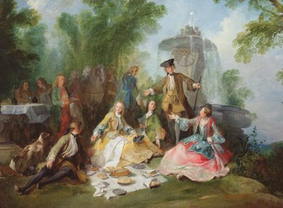 The Hunting Party Meal, c. 1737 (oil on canvas) Postcards, Greetings Cards, Art Prints, Canvas, Framed Pictures & Wall Art by Nicolas Lancret