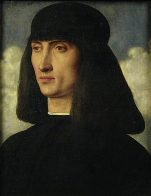Portrait of a Young Man, c.1500 (oil on panel) Fine Art Print by Giovanni Bellini