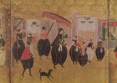 St. Francis Xavier (1506-51) and his entourage, detail of the right-hand section of a folding screen depicting the arrival of the Portuguese in Japan, Kano School (lacquer) Wall Art & Canvas Prints by Japanese School
