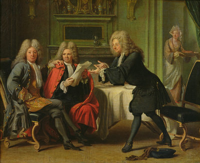 Bodin, the King's Doctor, in the Company of Dufresny and Crebillon at the House in Auteuil (oil on canvas) Fine Art Print by Robert Tournieres