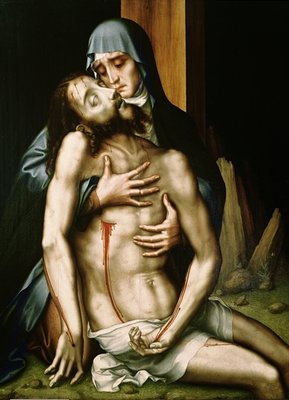 Pieta (oil on panel) Wall Art & Canvas Prints by Luis de Morales