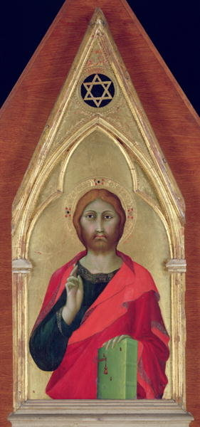 Christ Blessing, c.1325 (oil on panel) Wall Art & Canvas Prints by Barna da Siena