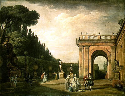 The Gardens of the Villa Ludovisi, Rome, 1749 (oil on canvas) Wall Art & Canvas Prints by Claude Joseph Vernet