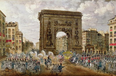 Procession of Pope Pius VII (1742-1823) in Paris, 28th November 1804 (coloured engraving) Wall Art & Canvas Prints by French School