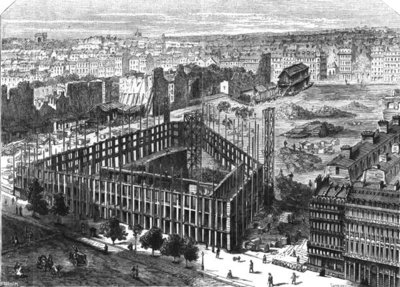 Transformation of Paris: Building in 1861, between the streets Neuve-des-Mathurins, Chaussee-d'Antin and Boulevard des Capucines, location for the new Opera and building of the Hotel de la Paix, engraved by Predhomme (fl.1840) (engraving) Fine Art Print by Felix Thorigny