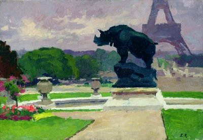 The Trocadero Gardens and the Rhinoceros by Jacquemart (oil on canvas) Postcards, Greetings Cards, Art Prints, Canvas, Framed Pictures, T-shirts & Wall Art by Jules Ernest Renoux