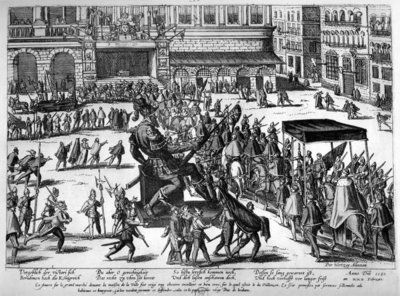 Entry of Hercule Francois of France, duke of Alencon (1554-84) in Antwerp, 19th February 1582 (engraving) (b/w photo) Wall Art & Canvas Prints by Franz Hogenberg