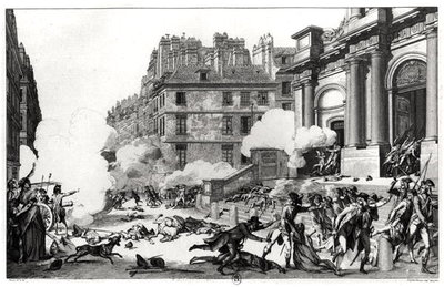Day of 13 Vendemiaire an IV (5th October 1795), shoot-out before St. Roch church in Paris, engraved by Jean Duplessi-Bertaux (1747-1819) (etching) (b/w photo) Fine Art Print by Charles Monnet