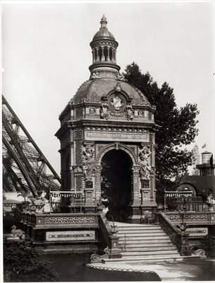 The Pavilion Perrusson at the Universal Exhibition of 1889 in Paris (b/w photo) Wall Art & Canvas Prints by Adolphe Giraudon