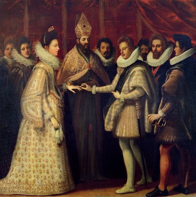 The Marriage of Catherine de Medici (1519-98) and Henri II (1519-59) 1533 (oil on panel) Wall Art & Canvas Prints by Jacopo Chimenti Empoli