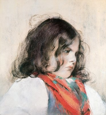 Head of a Child (pastel on paper) Fine Art Print by Mary Stevenson Cassatt