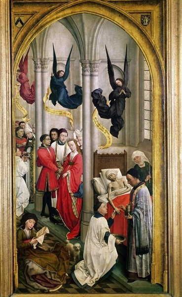 The Seven Sacraments Altarpiece, detail of the marriage, the ordination and the extreme unction, from the right wing, c.1445 Fine Art Print by Rogier van der Weyden