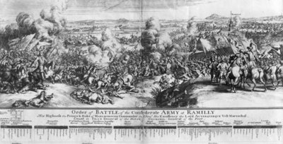 The Battle of Ramillies, 23rd May 1706 (engraving) (b/w photo) Wall Art & Canvas Prints by French School