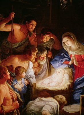 The Adoration of the Shepherds, detail of the group surrounding Jesus (oil on canvas) Fine Art Print by Guido Reni