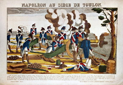 Napoleon I (1769-1821) at the Siege of Toulon, 1793 (coloured engraving) Fine Art Print by French School