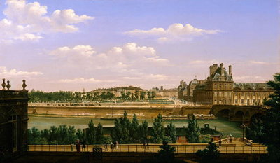 View of the Gardens and Palace of the Tuileries from the Quai d'Orsay, 1813 (oil on canvas) Fine Art Print by Etienne Bouhot